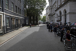 © Licensed to London News Pictures. 13/07/2016. London, UK. Downing Street is empty of ministerial car on Prime Minister David Cameron's last day in office.  Photo credit: Peter Macdiarmid/LNP