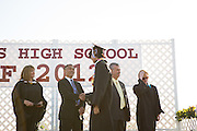 Cal Hills Class of 2012 senior Jonathan Medina receives his diploma and shakes the hand of Milpitas superintendent Cary Matsuoka at graduation on June 15, 2012, held at Milpitas High School, Milpitas, Calif.  Photo by Stan Olszewski/SOSKIphoto.