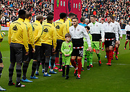 Billy Sharp of Sheffield Utd walks past the Norwich players without shaking hands due to the Corona virus during the Premier League match at Bramall Lane, Sheffield. Picture date: 7th March 2020. Picture credit should read: Simon Bellis/Sportimage