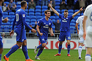 Cardiff City's Craig Bryson © celebrates after he scores his teams 2nd goal. EFL Skybet championship match, Cardiff city v Birmingham City at the Cardiff city stadium in Cardiff, South Wales on Saturday 10th March 2018.<br /> pic by Carl Robertson, Andrew Orchard sports photography.
