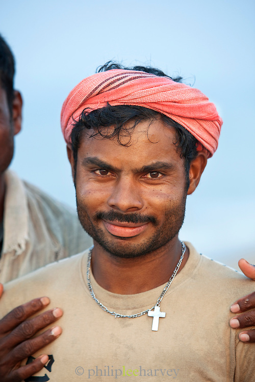 Portrait of a fisherman on Poovar Beach, near Trivandrum (Thiruvananthapuram), Kerala, India