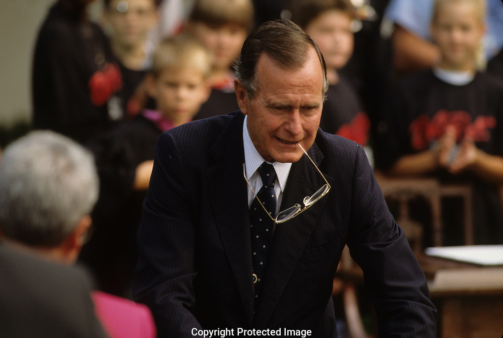 """President H W Bush  Bush 41, at a """"Say no to Drugs' event during the administration of H.W. Bush (Bush 41)..Photograph by Dennis Brack, BB 29"""