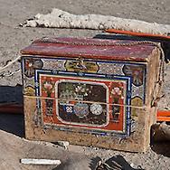 Mongolia. Caravans of Gengis Khan. , during the  camel festival in  Gobi desert in in cold winter. old painted chest  Bulgan -