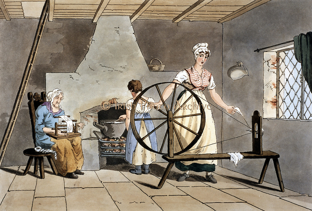 Three generations of women. Cottager spinning wool using simple wheel without treadle while her mother reels yarn and her daughter stirs cast iron pot standing on open fire  No stairs, upper floor reached by ladder (left). Flagstone floor,  casement windows fitted with leaded lights with diamond panes. From George Walker 'The Costume of Yorkshire', Leeds, 1814. Aquatint.