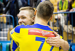 Gal Marguc of RK Celje PL and Luka Zvizej of RK Celje PL during handball match between RK Celje Pivovarna Lasko and RK Gorenje Velenje in Eighth Final Round of Slovenian Cup 2015/16, on December 10, 2015 in Arena Zlatorog, Celje, Slovenia. Photo by Vid Ponikvar / Sportida