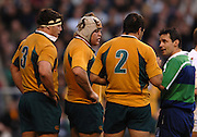 2005 Rugby, Investec Challenge, England vs Australia, Referee Joel Jutge, talks to the Wallabies front row, for srcrum infringments, before showing the yellow card to, Brendon Cannon [No.2] left to right, Alistair Baxter, Matt Dunning and Brendon Cannon. RFU Twickenham, ENGLAND:     12.11.2005   © Peter Spurrier/Intersport Images - email images@intersport-images..
