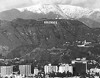 1978 The new Hollywood Sign with snow on the mountains