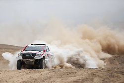 AREQUIPA, Jan. 11, 2019  Qatar driver Nasser Al Attiyah and French co-driver Matthieu Baumel compete during the 4th stage of the 2019 Dakar Rally Race, near La Joya, Arequipa province, Peru, on Jan. 10, 2019. Nasser Al Attiyah and Matthieu Baumel ranked 1st of the 4th stage with 3 hours 38 minutes and 49 seconds. (Credit Image: © Xinhua via ZUMA Wire)