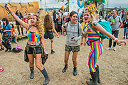 Denim, a drag band, perform on the Greenpeace Stage in front of dancing fans - The 2017 Glastonbury Festival, Worthy Farm. Glastonbury, 23 June 2017