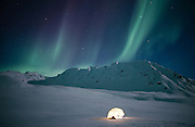 Alaska. Aurora Borealis. Northern Lights in the interior.Winter camping.