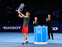 Tennis - 2018 Nitto ATP Finals at The O2 - Day Eight<br /> <br /> Final Singles: Novak Djokovic (SRB) vs. Alexander Zverev (GER)<br /> <br /> Zverev lifts the trophy after his 6-4, 6-3 victory.<br /> <br /> COLORSPORT/ASHLEY WESTERN