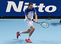 Tennis - 2017 Nitto ATP Finals at The O2 - Day Five<br /> <br /> Group Boris Becker Singles: Roger Federer (Switzerland) Vs Marin Cilic (Croatia)<br /> <br /> Marin Cilic (Croatia) bows out of the tournament at the O2 Arena<br /> <br /> COLORSPORT/DANIEL BEARHAM