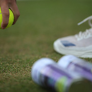 LONDON, ENGLAND - JULY 13:  A ball boy in action on an outer court during the Wimbledon Lawn Tennis Championships at the All England Lawn Tennis and Croquet Club at Wimbledon on July 13, 2017 in London, England. (Photo by Tim Clayton/Corbis via Getty Images)