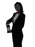 one  woman waiter butler serving red wine in silhouette on white background
