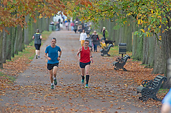 © Licensed to London News Pictures. 10/11/2020.  <br /> Greenwich, UK. Two runners keeping fit. Mild autumnal weather today in Greenwich Park, Greenwich, London as people get out of the house from Coronavirus lockdown to exercise. Photo credit:Grant Falvey/LNP