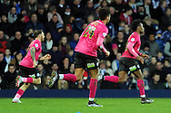 Peterborough's Shaquile Coulthirst (r) celebrates after scoring his goal  to make it 1-1. The Emirates FA Cup, 4th round match, West Bromwich Albion v Peterborough Utd at the Hawthorns stadium in West Bromwich, Midlands on Saturday 30th January 2016. pic by Carl Robertson, Andrew Orchard sports photography.