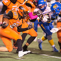 Junior Noah Oliver carries the ball for the Gallup Bengals, in their game against the Bloomfield Bobcats Friday Oct. 19, 2018 in Gallup.