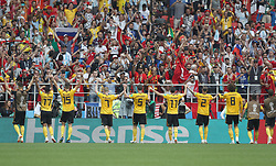 MOSCOW, June 23, 2018  Players of Belgium greet the audience after the 2018 FIFA World Cup Group G match between Belgium and Tunisia in Moscow, Russia, June 23, 2018. Belgium won 5-2. (Credit Image: © Xu Zijian/Xinhua via ZUMA Wire)
