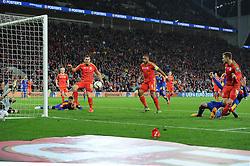 Aaron Ramsey of Wales scores the opening goal - Mandatory byline: Dougie Allward/JMP - 07966 386802 - 13/10/2015 - FOOTBALL - Cardiff City Stadium - Cardiff, Wales - Wales v Andorra - European Qualifier 2016 - Group B