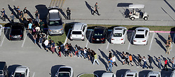 Students are evacuated by police out of Stoneman Douglas High School in Parkland, FL, USA, after a shooting on Wednesday, February 14, 2018. Photo by Mike Stocker/Sun Sentinel/TNS/ABACAPRESS.COM
