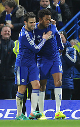 Chelsea's Loic Remy celebrates his goal with Chelsea's Cesc Fabregas - Photo mandatory by-line: Dougie Allward/JMP - Mobile: 07966 386802 - 03/12/2014 - SPORT - Football - London - Stamford Bridge - Chelsea v Tottenham Hotspur - Barclays Premier League