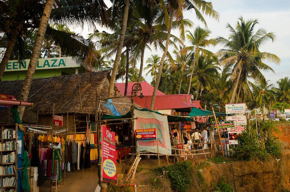 Souvenir shops and restaurants on Varkala beach, Kerala, South India