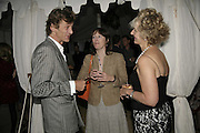 MATTHEW CARR, REBECCA FITZGERALD AND HARRIET SERGEANT, Rachel Johnson celebratespublication of ' Notting Hell'. Communal Gardens. Ladbroke Grove. London. 4 September 2006. .ONE TIME USE ONLY - DO NOT ARCHIVE  © Copyright Photograph by Dafydd Jones 66 Stockwell Park Rd. London SW9 0DA Tel 020 7733 0108 www.dafjones.com