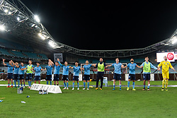 December 15, 2018 - Sydney, NSW, U.S. - SYDNEY, NSW - DECEMBER 15: Sydney FC celebrate at the Hyundai A-League Round 8 soccer match between Western Sydney Wanderers FC and Sydney FC at ANZ Stadium in NSW, Australia on December 15, 2018. (Photo by Speed Media/Icon Sportswire) (Credit Image: © Speed Media/Icon SMI via ZUMA Press)