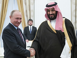 May 30, 2017 - Moscow, RUSSIA - Russian President Vladimir Putin, left, shakes hands with Saudi Deputy Crown Prince and Defense Minister Mohammed bin Salman in Moscow's Kremlin, Russia, Tuesday, May 30, 2017. (Credit Image: © Prensa Internacional via ZUMA Wire)