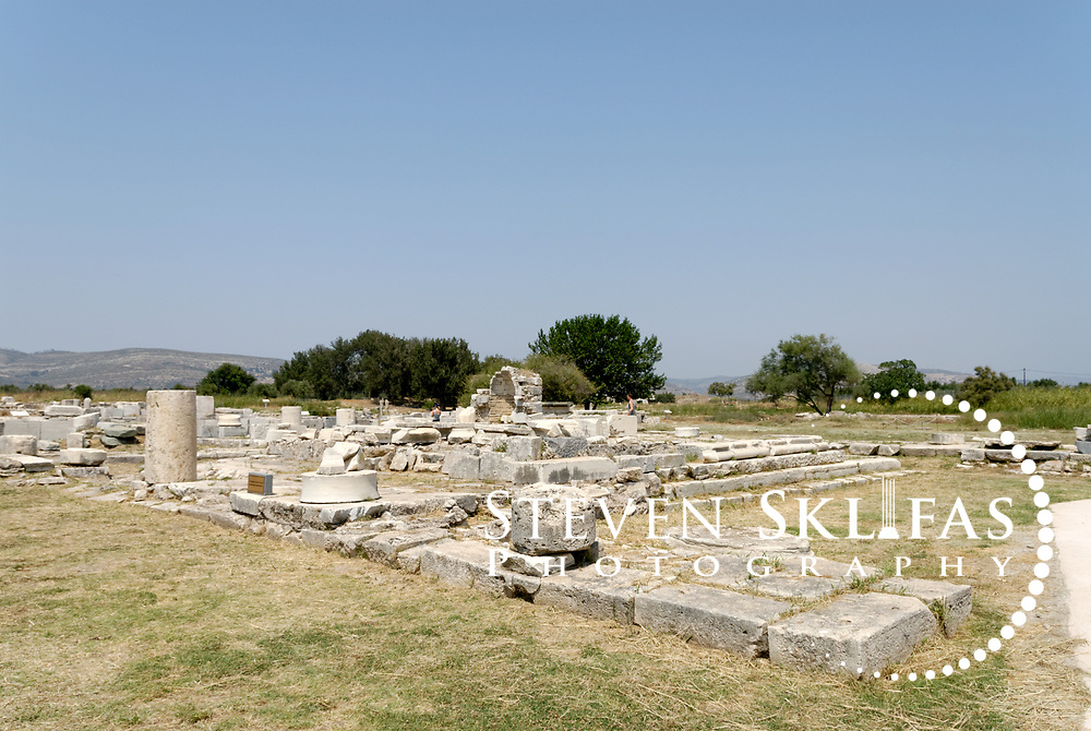 Iraion. Samos. Greece. View of the ruins of the Roman Temple of Hera at the sanctuary of Heraion.