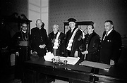 19/05/1966<br /> 05/19/1966<br /> 19 May 1966<br /> President Eamon de Valera receives Honorary Doctorate from the University of Louvain, Belgium at a conferring ceremony at the Department of External Affairs in Dublin. Picture shows (l-r): His Excellency Most Reverend Giuseppe Sensi, Papal Nuncio; His Eminence, Cardinal William Conway, Archbishop of Armagh and Primate of All Ireland; Monsignor Louis De Raeymaeker, Pro-Rector, Louvain University; President Eamon de Valera; Monsignor Edouard Massaux, Pro-Rector and Taoiseach Sean Lemass T.D. after the conferring ceremony.