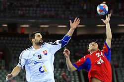 Frantisek Sulc (5) of Slovakia and Jaewoo Lee (24) of Korea during 21st Men's World Handball Championship 2009 Main round Group I match between National teams of Slovakia and Korea, on January 24, 2009, in Arena Zagreb, Zagreb, Croatia.  (Photo by Vid Ponikvar / Sportida)