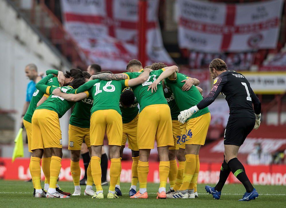Preston North End's Declan Rudd (right) joins the team huddle before the match<br /> <br /> Photographer Andrew Kearns/CameraSport<br /> <br /> The EFL Sky Bet Championship - Brentford v Preston North End - Wednesday 15th July 2020 - Griffin Park - Brentford <br /> <br /> World Copyright © 2020 CameraSport. All rights reserved. 43 Linden Ave. Countesthorpe. Leicester. England. LE8 5PG - Tel: +44 (0) 116 277 4147 - admin@camerasport.com - www.camerasport.com