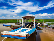 31 MAY 2016 - SIEM REAP, CAMBODIA: Tour boats beached in Sangkat Tuek Vil village on the West Baray near Siem Reap. The West Baray is an enormous reservoir by the Khmer empire in the 11th century. It is 8,000 metres long and 2,100 metres wide. It was built by hand and used to provide agricultural and domestic water to the empire based in the Angkor Wat complex. The Baray is still in use as a reservoir for farms in the area. It is empty for the first time in the living memory of the people who live around it. While the water level fluctuates enormously from the rainy season the dry season, it's virtually unheard for the Baray to be empty and it's been empty for at least a month. The boats that take tourists across the reservoir are beached and many of the small restaurants are closed until it floods again. Recent small rains have seen the water level rise a few inches but not enough to accommodate the boats.    PHOTO BY JACK KURTZ