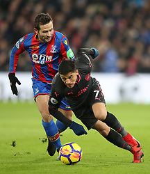Crystal Palace's Yohan Cabaye (left) and Arsenal's Alexis Sanchez battle for the ball during the Premier League match at Selhurst Park, London, Thursday 28th December 2017