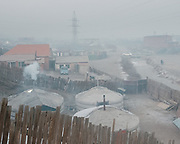 Evening air pollutiuon, mostly due to coal-fired stoves, in Bayankhoshuu, one of the worst polluted neighborhood of Ulan Bator.