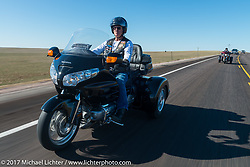 John Fleming, an American Legion Post 22 Rider from Rapid City, on the USS South Dakota submarine flag relay across South Dakota on the first day from Sturgis to Aberdeen. SD. USA. Saturday October 7, 2017. Photography ©2017 Michael Lichter.