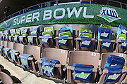 TAMPA, FL - JANUARY 27: Seat cushions are ready for the big game as the NFC Arizona Cardinals speak to the media during Super Bowl XLIII Media Day at Raymond James Stadium on January 27, 2009 in Tampa, Florida. ©Paul Anthony Spinelli
