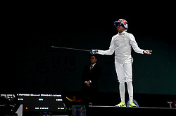 WUXI, July 27, 2018  Miles Chamley-Watson of the US reacts during the men's foil team final between Italy and the United States at the Fencing World Championships in Wuxi, east China's Jiangsu Province, July 27, 2018. Italy beat US 45-34 and claimed the title of the event. (Credit Image: © Li Bo/Xinhua via ZUMA Wire)