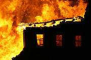 A ranging fire engulfs a closed factory in Ogden, Utah.