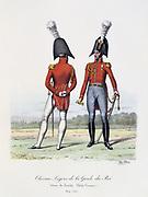 Household Cavalry, 1814-1815.   From 'Histoire de la maison militaire du Roi de 1814 a 1830' by Eugene Titeux, Paris, 1890.