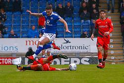 Adam El-Abd of Wycombe Wanderers tackles Bradley Barry of Chesterfield - Mandatory by-line: Ryan Crockett/JMP - 28/04/2018 - FOOTBALL - Proact Stadium - Chesterfield, England - Chesterfield v Wycombe Wanderers - Sky Bet League Two