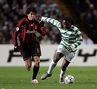 Photo: Paul Thomas.<br /> Glasgow Celtic v AC Milan. UEFA Champions League. Last 16, 1st Leg. 20/02/2007.<br /> <br /> Evander Sno (R) fends off Kaka of Milan.