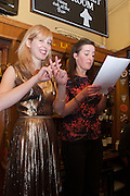 ANNA BADDELEY; FLEUR MACDONALD; , The Omnivore hosts the third Hatchet  Job of the Year Award. Sponsored by the Fish Society.  The Coach and Horses. Greek st. Soho. London. 11 February 2014.