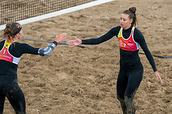 Puk Stubbe in action. The DELA NK Beach volleyball for men and women will be played in The Hague Beach Stadium on the beach of Scheveningen on 22 July 2020 in Zaandam.