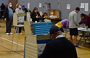 Voters in the metro-east line up to cast their ballots at Christ Church in Fairview Heights, on Tuesday, November 3, 2020. The church is the polling place for five precincts and had a steady stream of voters throughout the morning. As of 10 am, when this photo was taken, nearly 600 people had voted there. <br /> Photo by Tim Vizer