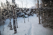 View from the outhouse of the backcountry North Pole Hut, San Juan Mountains, Colorado.
