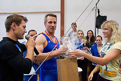 Farewell of Slovenian athlete Aljaz Pegan (with Mitja Petkovsek at Left and Adela Sajn at Right) at his last competition in his sports career during Slovenian Gymastics Cup 2013 on June 2, 2013 in GIB arena, Ljubljana, Slovenia. (Photo By Vid Ponikvar / Sportida)