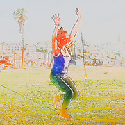 Digitally enhanced image of a woman Slacklining