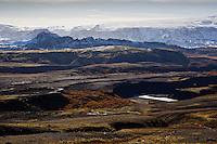 Highlands of Iceland. Looking east over river Markarfljot and the lower part of the Canyon. Emstrur in background.<br /> <br /> Hálendi Ísland. Horft í austur yfir Markarfljótsgljúfur, Emstrur í baksýn.